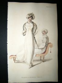 Ackermann 1810 Hand Col Regency Fashion Print. Walking & Morning Dress 4-30